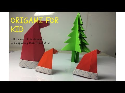 origami for KID-How to make a Santa Claus hat