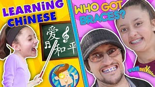 KIDS LEARNING CHINESE w  FUNnel Vision + Who gets Braces Vlog Chinese Song & Handshake