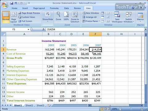 Freeze Panes in Excel 2007