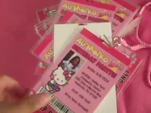 Hello Kitty Vip Pass invitations for Birthday or any event eventphotocards.com