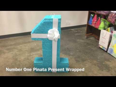 Number One Pinata Present Wrapped Birthday Pinatas