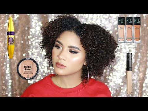 ONE BRAND MAKEUP TUTORIAL | FULL FACE USING ONLY MAYBELLINE PRODUCTS | CURLSFOTHEGIRLS
