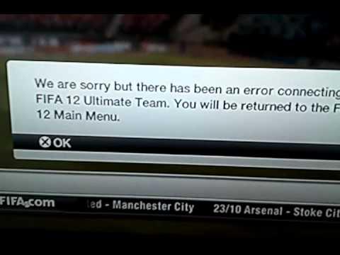 Fifa 12 ultimate team error ps3 'help'