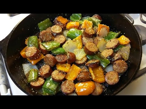 Cast Iron Cooking Kielbasa Sausage And Peppers Recipe
