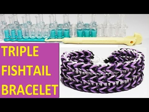 HOW TO MAKE TRIPLE FISHTAIL BRACELET WITH RAINBOW LOOM