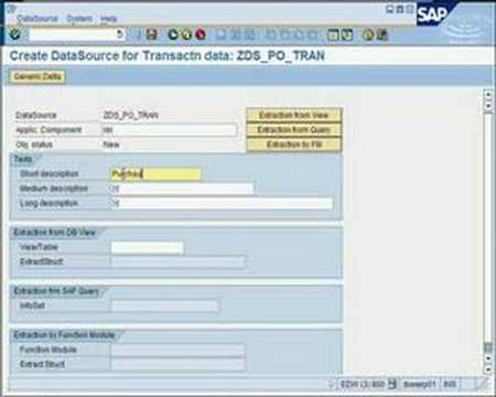 SAP BW - How To...Create a generic extractor from SAP R/3