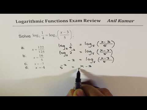 Logarithmic Functions Pre-Calculus Multiple Choice Exam Review Part 2