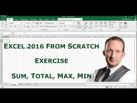 Excel 2016 from Scratch. Exercise - Calculate Sum, Total, Max, Min