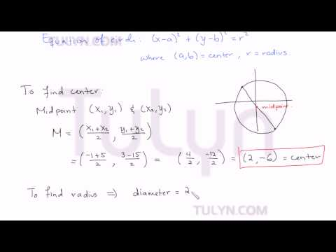 finding the equation of a circle given diameter