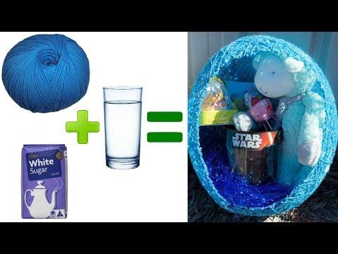 DIY wool, sugar & water easter baskets!