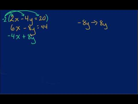 Solving Systems of Equations - Elimination By Eliminating Y Problem 2
