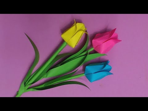How to Make Tulip Flower with Color Paper | DIY Paper Flowers Making