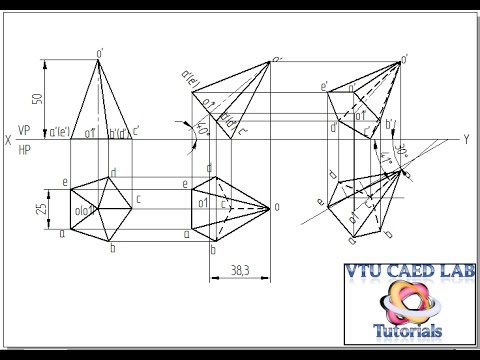 Projection of a pentagonal pyramid with corner on HP
