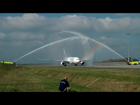 Emirates Airbus A330 Inaugural Flight to Budapest - Water Cannon Salute with Rainbow