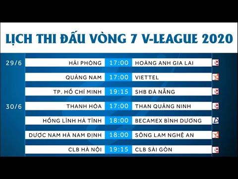 Lịch thi đấu vòng 7 V-League 2020   Bảng xếp hạng V-League 2020 trước vòng 7