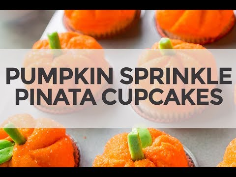 Pumpkin Sprinkle Pinata Cupcakes