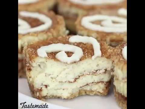 Mini Cinnamon Roll Cheesecakes // Mini pastel de queso con canela