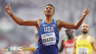 Donavan Brazier breaks American, world championship records in 800m victory | NBC Sports