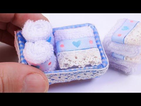 Miniature Bath Towels in a Basket DIY