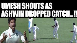 India vs Australia 4th Test: Umesh Yadav shouts as Ashwin dropped catch | Oneindia News