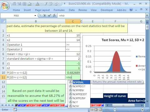 Excel Statistics 71: #3 Normal Probability Excel Functions & Area Charts