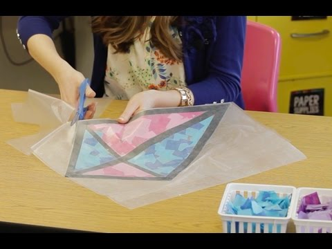 How to Make Tissue Paper Stained Glass Kite Window Decorations
