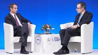 Συζήτηση Κ. Μητσοτάκη με τον Πρόεδρο του Ελληνο-Αμερικανικού Εμπορικού Επιμελητηρίου Ν. Μπακατσέλο