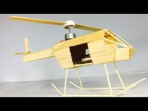 How to make a wooden helicopter - Powered Electric Motor Helicopter Very Simple