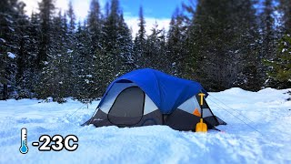 -23C Extreme Winter Camping Alone In A Hot Tent