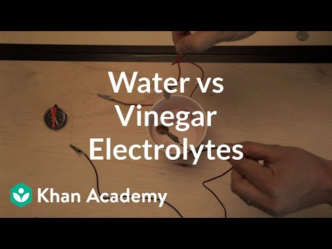 Electrolyte test (pure water vs. vinegar) | Physics | Khan Academy