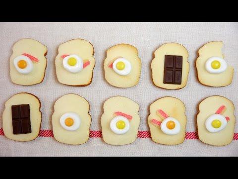 Edible Mini Toast Cookies  なんちゃってベーコンエッグトースト・チョコトーストのおもちゃみたいなクッキー。食べられます。
