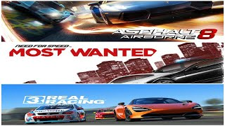 ASPHALT 8 AIRBORNE vs NEED FOR SPEED MOST WANTED vs REAL RACING 3 (+1 Fact about each game)