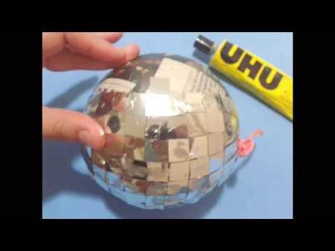 DIY // Paper Mache Disco Ball ♥ Manualidades // Papel Mache Bola de Disco