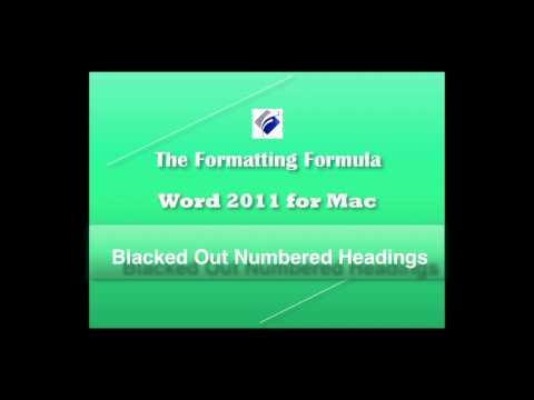 Word 2011 Blacked Out Numbered Headings
