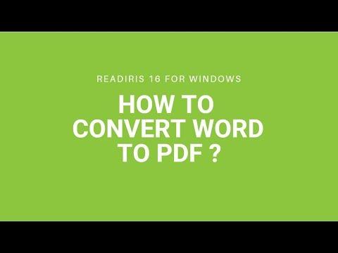 Convert Word to PDF using Readiris 16 for Windows
