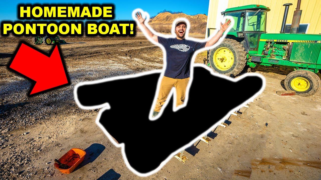 Building a DIY Homemade PONTOON BOAT!!! (Part 1)