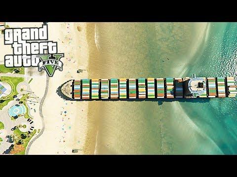 GTA V - Trevor Crash Container ship | Container ship sails straight to shore (GTA 5 Mods)