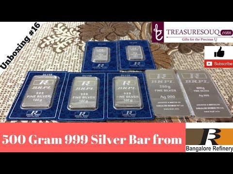 Half Kilo Silver: Unboxing 500 GRAM Bangalore Refinery Silver Bar from Treasuresouq.com (India 2017)