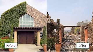 The image before and after the fire in the city of Santa Rosa  santa rosa fire map