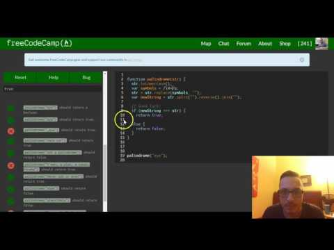 Check for Palindromes, freeCodeCamp review Basic Algorithm Scripting, lesson 3