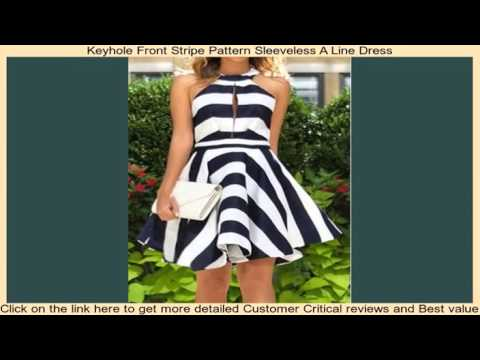Keyhole Front Stripe Pattern Sleeveless A Line Dress
