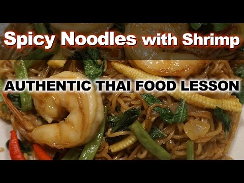 Authentic Thai Recipe for Spicy Chili and Basil Ramen Noodles with Shrimp - Pad Kraprow Mama Goong