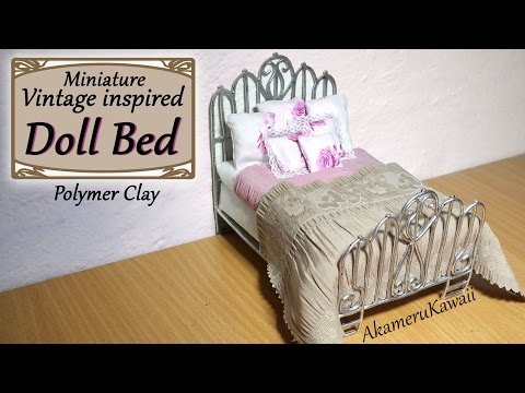 Miniature Doll Bed - Polymer Clay/Fabric Tutorial