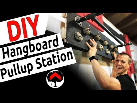 DIY Pullup Bar & Hangboard using climbing holds, wall mounted cannonballs, and a pipe!