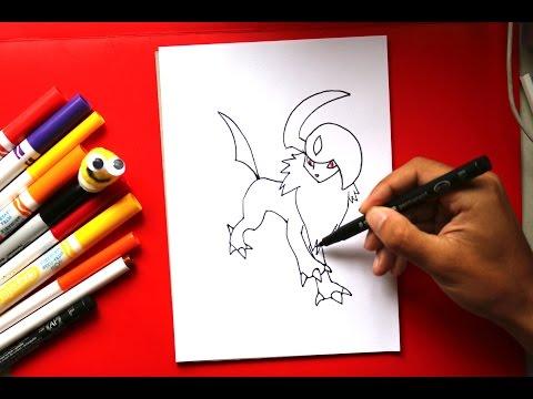 How to Draw Pokemon Absol -  Cómo dibujar Pokemon Absol