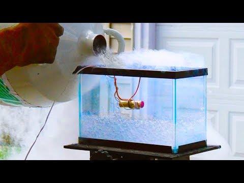 Burning Model Rocket Motor In Liquid Nitrogen - 4K Slow Motion