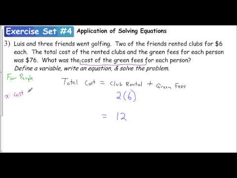 Lesson 1.2 - Application of Equations (Exercise Set #4 - Problem 3)