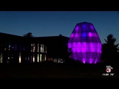 LITE Center lit purple for Alzheimer's & Brain Awareness Month