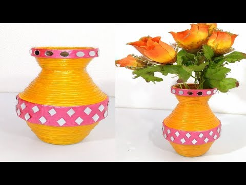 How to make Best out of waste newspaper flower vase diy gbalaji crafts