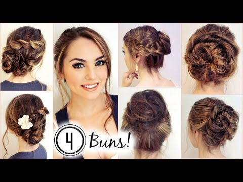 NO HEAT HAIRSTYLES! 4 Unique Messy Buns - Jackie Wyers